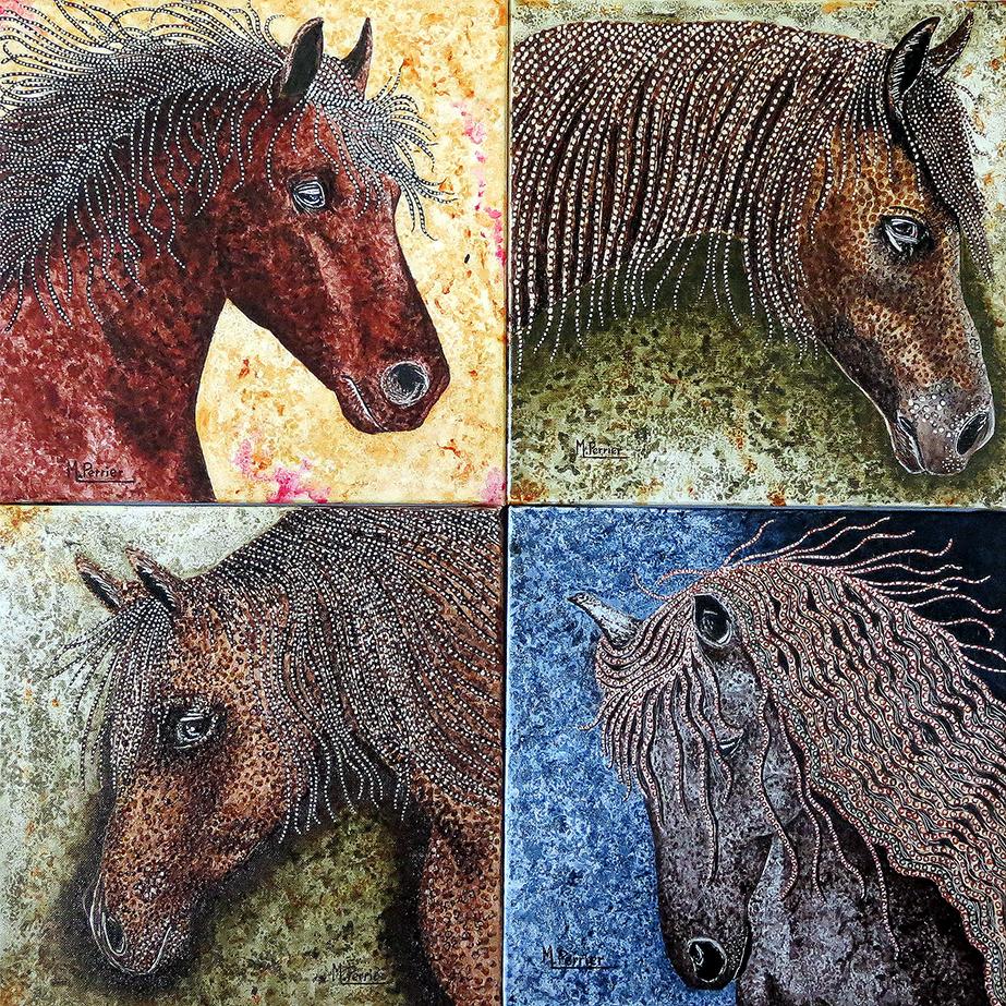 Voici différentes manières de représenter un cheval en mode « pointillé », avec plusieurs couleurs dominantes. Des techniques mixtes sont utilisées pour ces 4 tableaux de format 30 x 30 cm, qui ont été rapprochés le temps d'une photo.