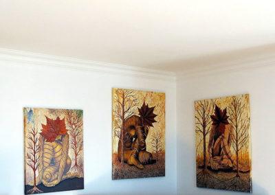 5 tableaux «Feuilles en tête»