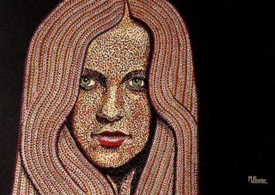 Portrait pointillé Jeune Femme aux perles 1
