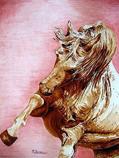 Cheval étalon (fond rose)