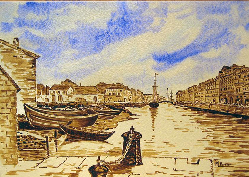 Port de Sète (gravure ancienne)