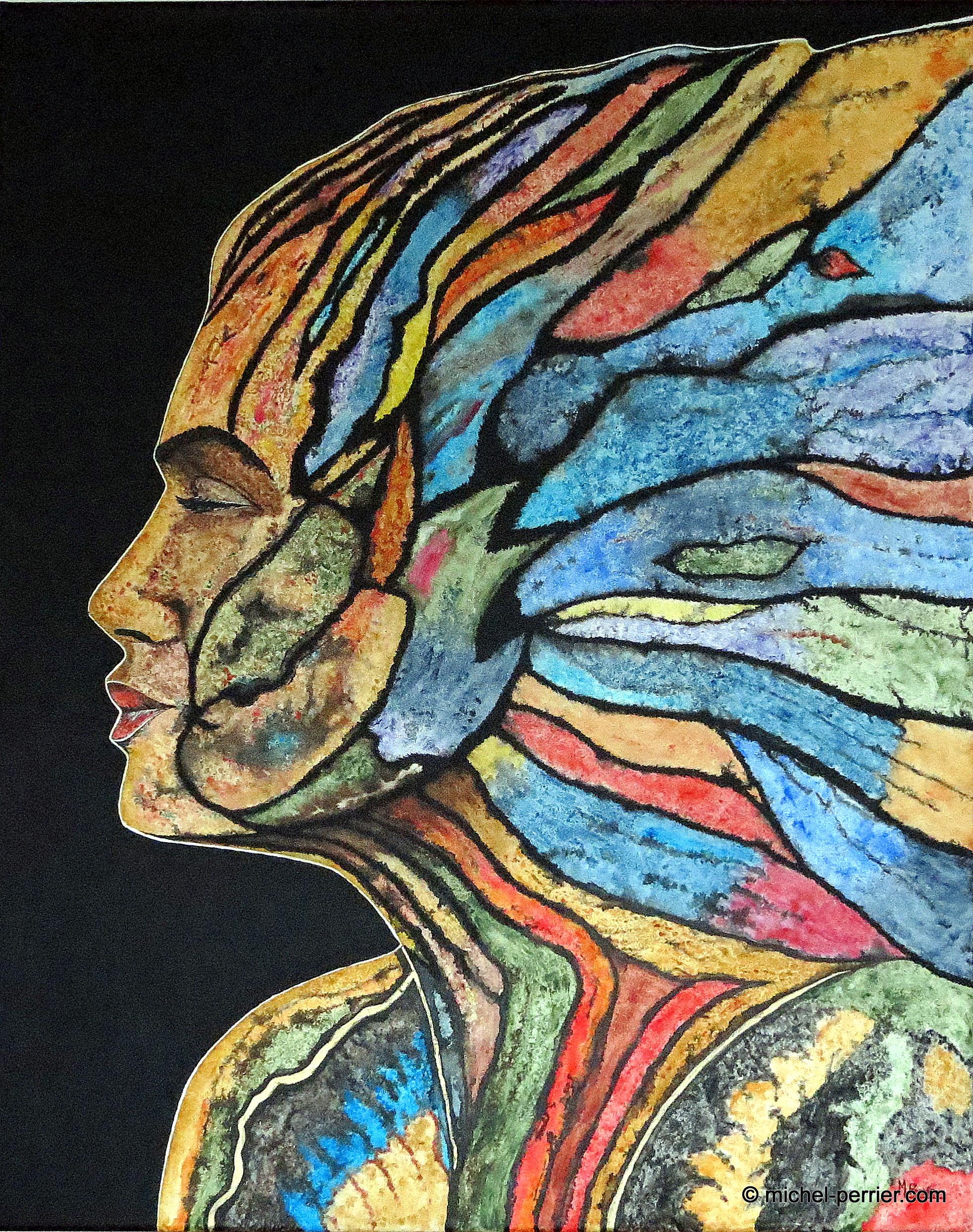 Profil multicolore avec un festival de couleurs pour ce tableau de format 100 X 80 cm, en techniques mixtesu