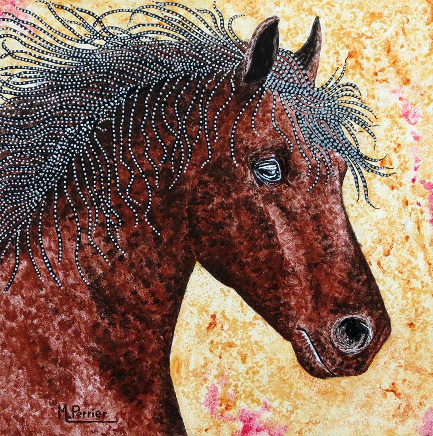 détail d'un cheval 30x30cm