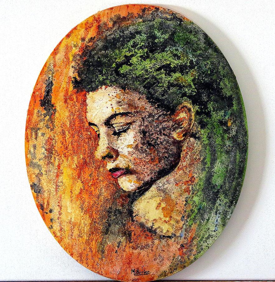 Portrait en encre acrylique à haute densité pigmentaire, permettant de belles transitions de couleurs