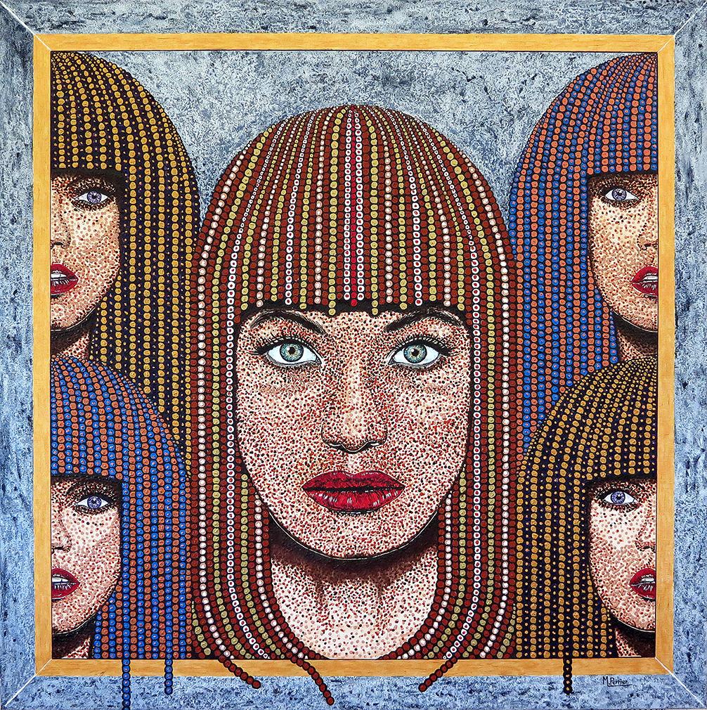 portrait pointillé central de face, entouré de 2 demi-portraits de chaque côté du visage.