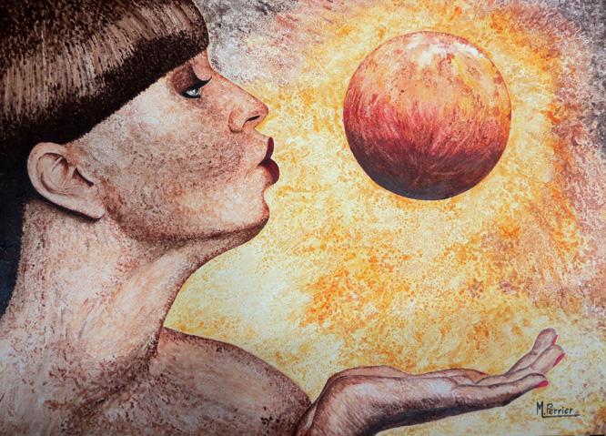 une femme, de profil, souffle sur une planète (imaginaire ou existante ?). Acrylique sur bois, format 50 x 70 cm