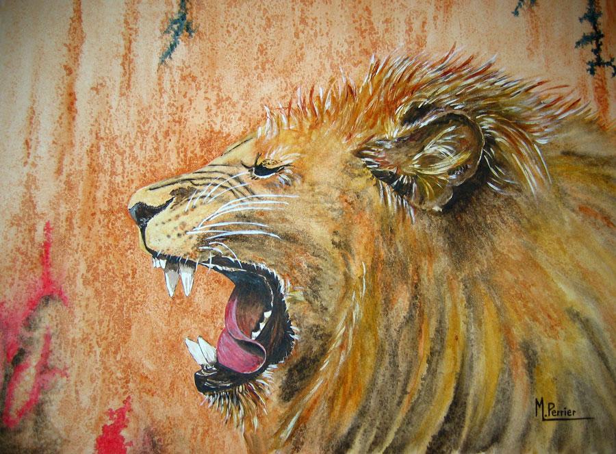 lion au réveil