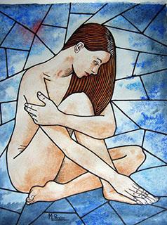Le nu, placé au centre d'un vitrail, est traité avec la technique de l'aquarelle, permettant des modulations de bleu pour le fond.