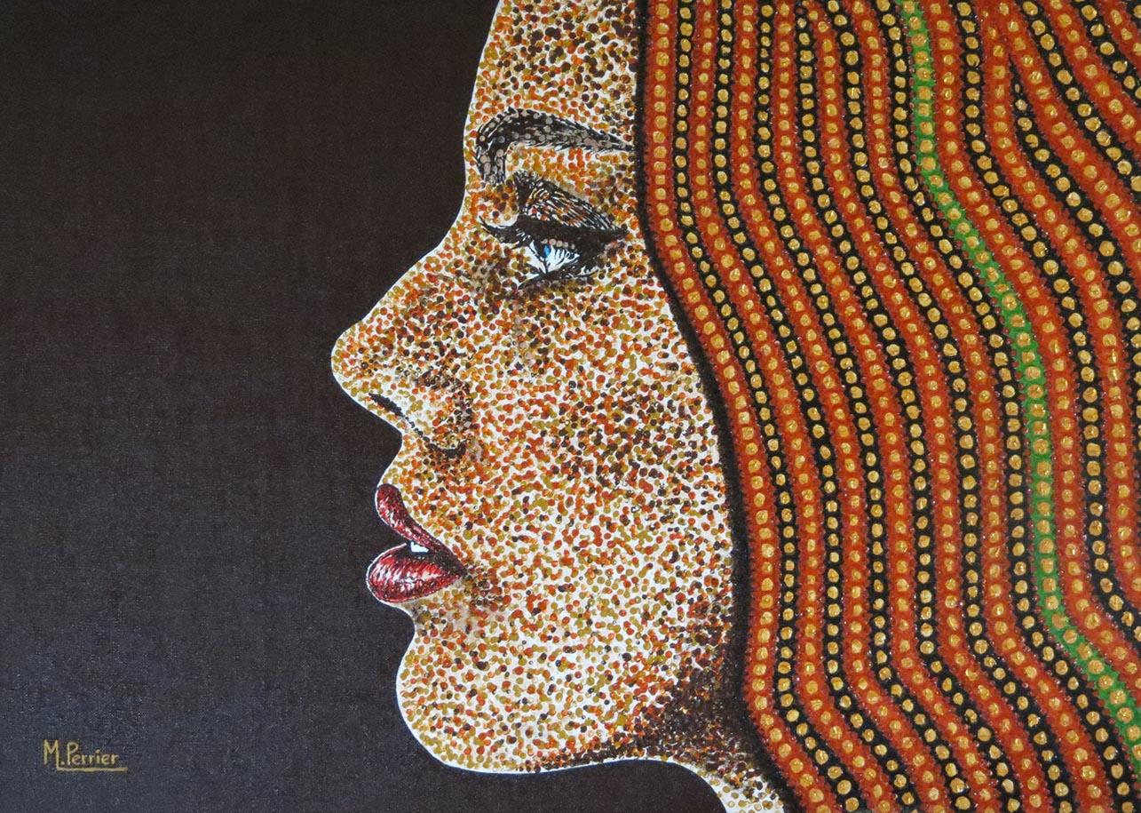 Portrait d'une JF à la manière pointilliste avec des perles vertes dans sa chevelur