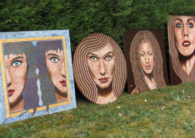 quatre tableaux pointillés en pleine nature